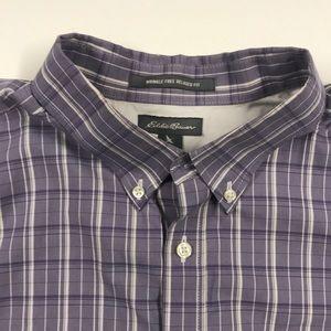 EDDIE BAUER Mens Tall XL Purple Oxford Dress Shirt